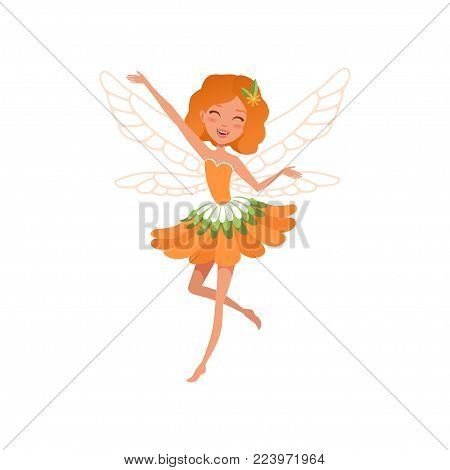Cheerful red-haired fairy with little magic wings. Cartoon girl wearing beautiful orange flower shaped dress. Fairy-tale character. Colorful flat vector illustration isolated on white background.