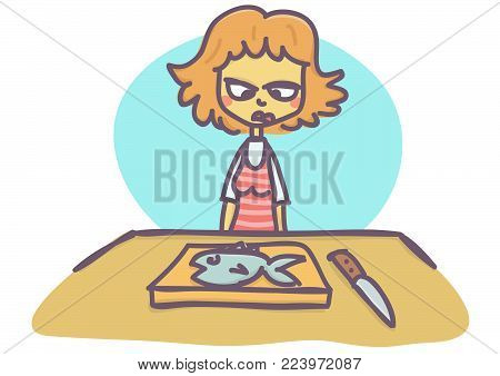 Woman looking with anger and disgust at fish she is about to cut, funny vector cartoon