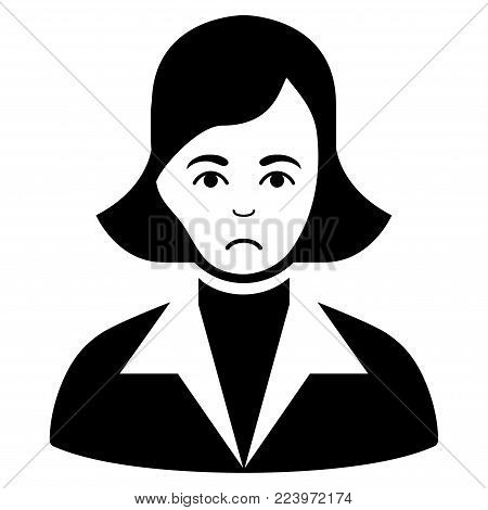 Sadly Lady vector pictogram. Style is flat graphic black symbol with sadness sentiment.