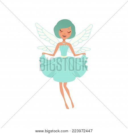 Smiling fairy girl in blue dress. Fairytale character with magic wings and necklace. Beautiful imaginary creature. Design for print or postcard. Cartoon flat vector illustration isolated on white.
