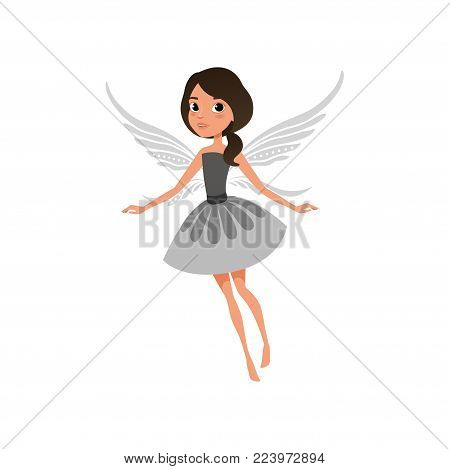 Fairy with big shiny eyes in flying action. Cute girl dressed in fancy dress. Mythical creature with magic wings. Fairytale character. Cartoon flat vector illustration isolated on white background.