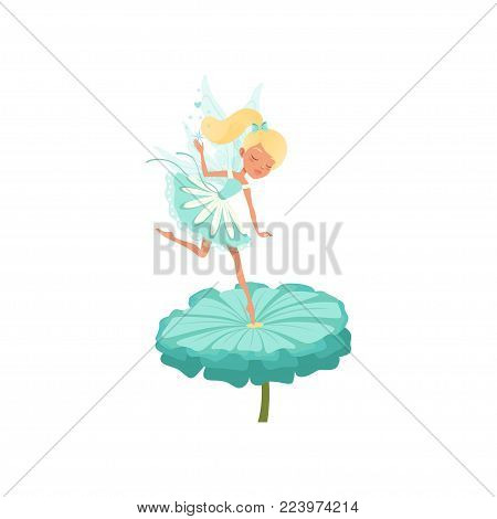 Cute fairy hovering over beautiful flower and spreading magical dust. Blond girl with ponytail and little wings. Pixie in fancy blue dress. Fairytale character. Flat vector design isolated on white.