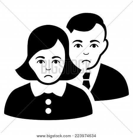 Sadly People vector pictogram. Style is flat graphic black symbol with affliction mood.