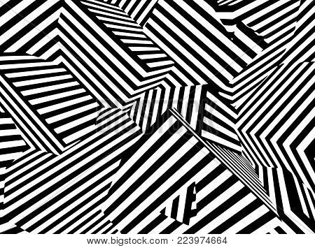 Abstract black and white striped optical illusion three dimensional geometrical boxes pattern illustration