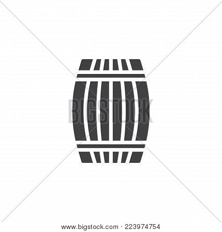 Wooden barrel cellar icon vector, filled flat sign, solid pictogram isolated on white. Wine barrel symbol, logo illustration.