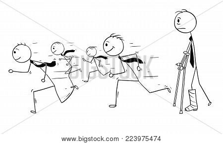 Cartoon stick man drawing conceptual illustration of businessman with broken leg watching career of healthy businessmen running for success. Business concept of success, limitations and obstacles.
