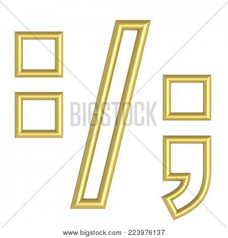 Colon, semicolon, period, comma from white with gold shiny frame alphabet set, isolated on white. 3D illustration.
