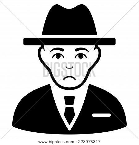 Pitiful Agent vector icon. Style is flat graphic black symbol with sad expression.