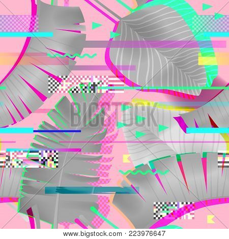 Glitch Effect Seamless Pattern with Tropical Elements. Cyberpunk Urban Digital Background for Fabric Fashion, Poster Design. Vector illustration