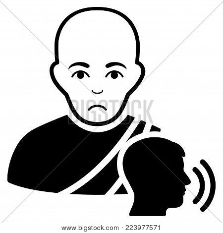 Pitiful Buddhist Confession vector pictograph. Style is flat graphic black symbol with affliction mood.