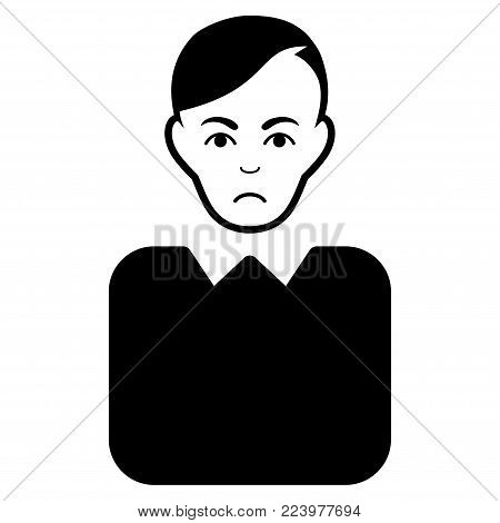 Pitiful Bureaucrat vector icon. Style is flat graphic black symbol with pitiful emotion.