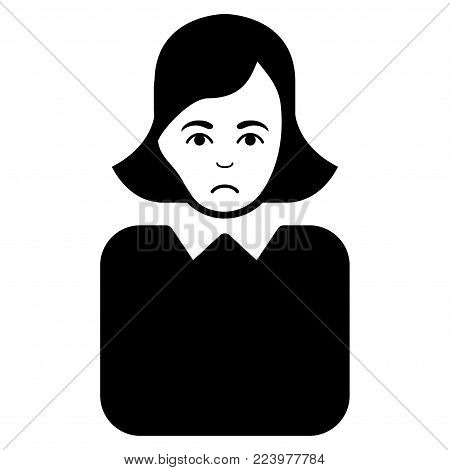 Sadly Bureaucrat Woman vector pictogram. Style is flat graphic black symbol with affliction feeling.