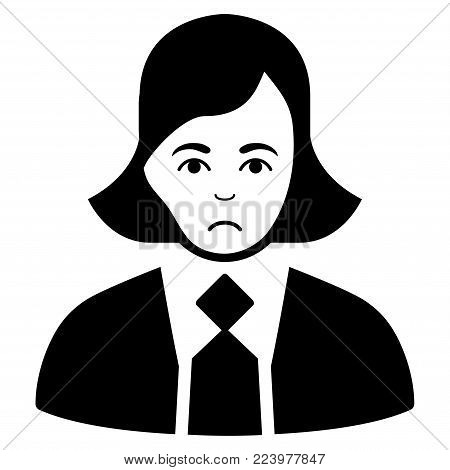 Sad Business Woman vector pictograph. Style is flat graphic black symbol with affliction expression.