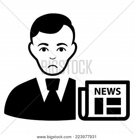 Pitiful Businessman News vector icon. Style is flat graphic black symbol with problem sentiment.