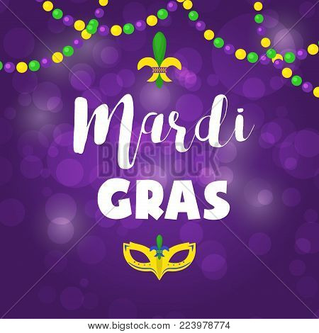 Mardi Gras carnival party vector background masquerade celebration festival poster design holiday purple brochure. Venetian mardi gras mask with feathers beads, joker, fleur de lis party decorations.