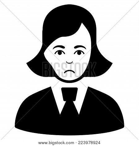 Dolor Clerk Lady vector pictograph. Style is flat graphic black symbol with dolor feeling.