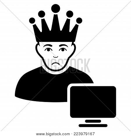 Dolor Computer Moderator vector pictograph. Style is flat graphic black symbol with pitiful mood.