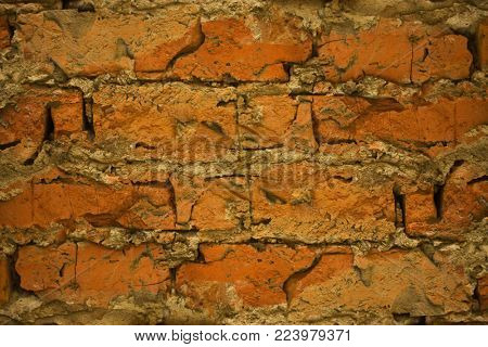 texture of an old rough masonry, close-up