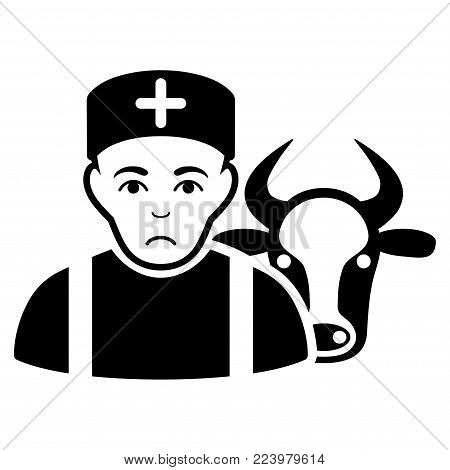 Sadly Cow Veterinarian vector pictograph. Style is flat graphic black symbol with grief emotion.
