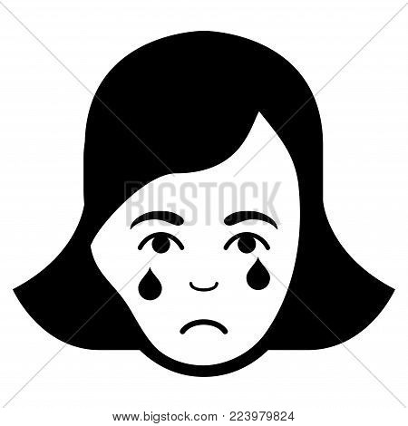 Pitiful Crying Woman Face vector pictogram. Style is flat graphic black symbol with sorrow expression.
