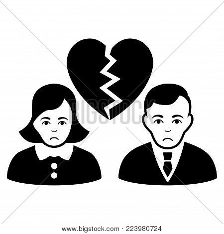 Pitiful Divorce People vector pictograph. Style is flat graphic black symbol with pitiful sentiment.