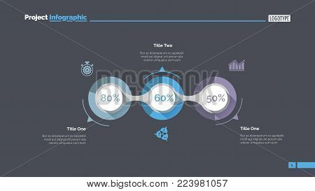 Implementation infographics slide template. Business data. Graph, diagram, design. Creative concept for infographic, report. Can be used for topics like fulfillment, project, business performance