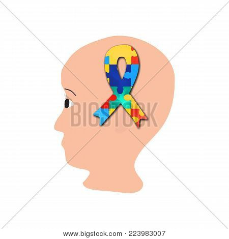 A ribbon of puzzles in the brain. head. World Autism Day. Vector illustration on isolated background.