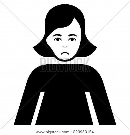 Sadly Lady vector pictogram. Style is flat graphic black symbol with sorrow mood.