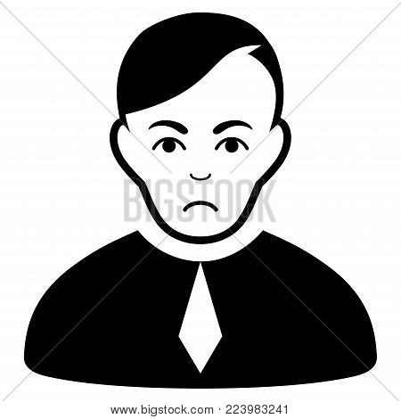 Unhappy Loyer vector icon. Style is flat graphic black symbol with unhappy emotions.