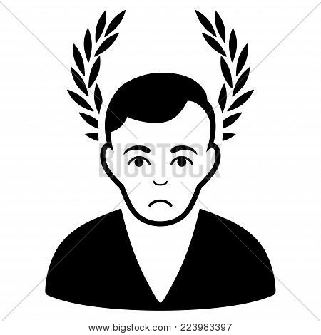 Pitiful Man Glory vector icon. Style is flat graphic black symbol with sad feeling.