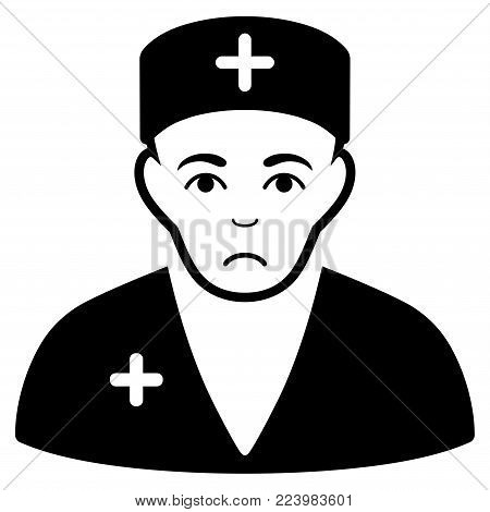 Sadly Medic vector icon. Style is flat graphic black symbol with affliction mood.