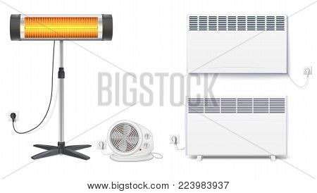 Set icons of heaters, household appliances on a white background. Convector, fan heater, UFO quartz heater with power cord and socket, isolated 3D illustration with realistic shadows.
