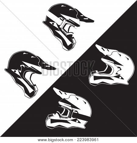 Vector side view illustration of race motorcycle, hovering motorcycle rider protective gear. Helmet single and helmet with goggles black and white templates. Flat style design.