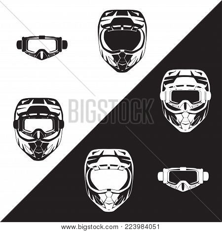 Vector illustration of race motorcycle, hovering motorcycle protective gear. Motorcycle riding or race helmet and goggles black and white templates, flat style design.