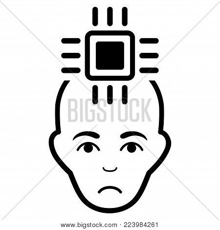 Sadly Neural Computer Interface vector icon. Style is flat graphic black symbol with sadness feeling.