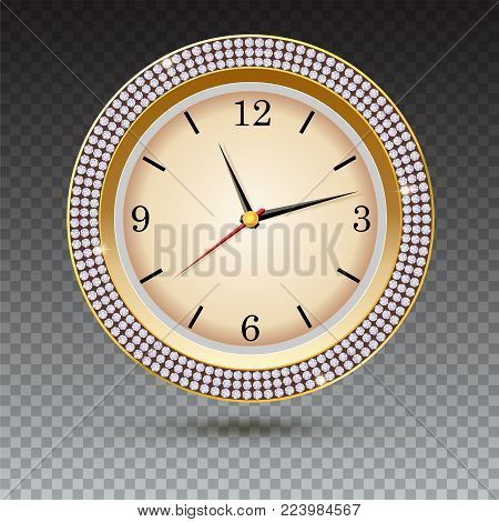 Watch with diamonds on transparent background. Icon of luxury golden clock, jewelry decoration with white dial and arrows.
