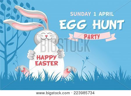 easter egg hunt invitation or flyer design with cheerful bunny which hold egg on blue background