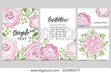 Vector illustration of ranunculus flower. Backgrounds with pink flowers. Set of greeting cards