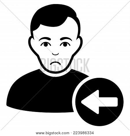 Unhappy Previous User vector icon. Style is flat graphic black symbol with pitiful feeling.
