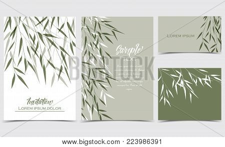Vector Illustration bamboo leaves. Set of greeting cards