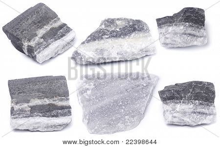 collection marble stones  isolated on white background