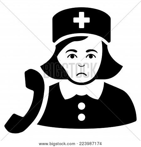 Unhappy Receptionist Nurse vector icon. Style is flat graphic black symbol with sorrow emotions.