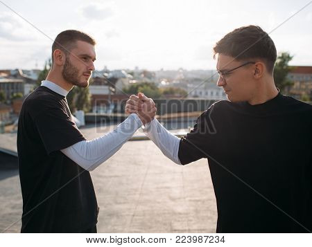 Man friendship and loyalty. Bff support trust unity power concept
