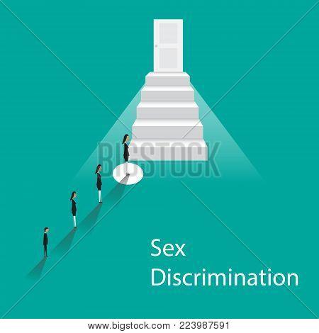 Gender discrimination concept. Male discrimination at work. Vector flat cartoon illustration