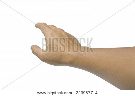 Man hand isolated on white background with clipping path - don't leave me