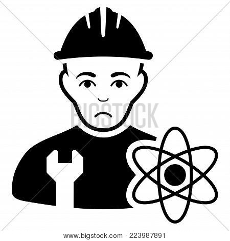 Sad Scientist Engineer vector icon. Style is flat graphic black symbol with affliction expression.