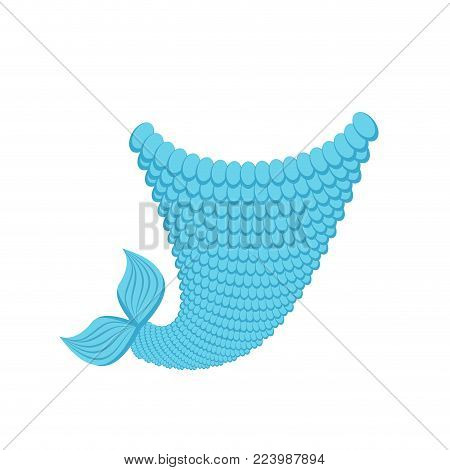 Tail mermaid template isolated. Fish tail with scales Vector illustration