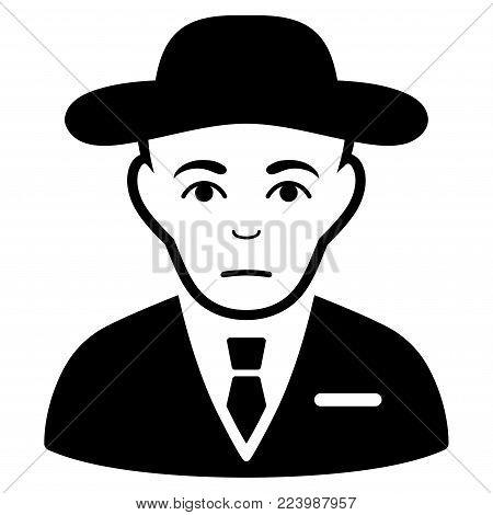 Dolor Secret Service Agent vector pictogram. Style is flat graphic black symbol with dolor expression.