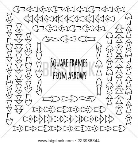 Set of square frames from hand drawn different arrows. Vector background for your design.