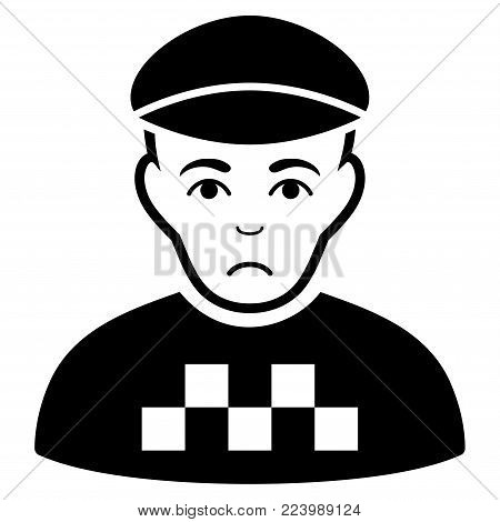 Dolor Taxi Driver vector icon. Style is flat graphic black symbol with dolor feeling.